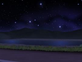 河川敷からの夜空