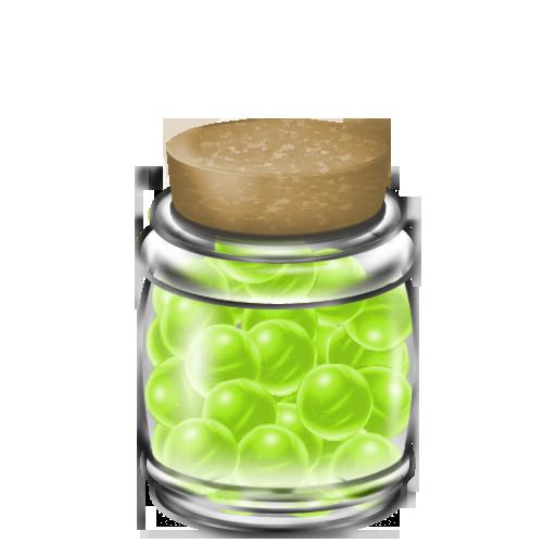 瓶に入った緑キャンディー
