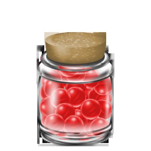 瓶に入った赤いキャンディー