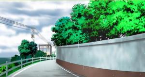 学園前の坂道_雨