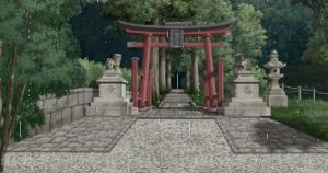 ③ゴールは庭園最奥「神社・入口」です。時間をおいて、自分のかたつむりがゴールしているか確認に行きます。
